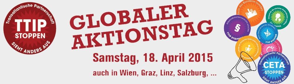 Banner vom Bündnis ttip-stoppen zum Aktionstag am 18.april 2015